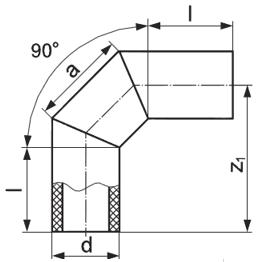 Отвод сварной 3-сегмента 45, 60, 90 градусов
