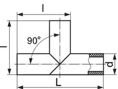 Тройник сварной равнопроходной 90 градусов схема